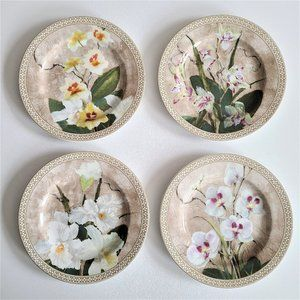 Set of 4 American Atelier floral design dishes.